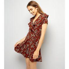 Mela Dark Brown Floral Print Wrap Dress ($33) ❤ liked on Polyvore featuring dresses, truffle, vintage wrap dress, botanical dress, wrap dress, floral design dresses and flower print dresses