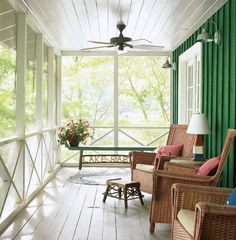 wide white front porch, emerald wall, ceiling fan