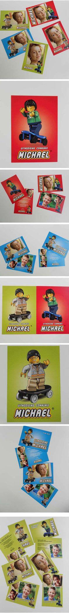 #lego #communiekaarten #skaters. Bezorg foto's en tekst. Wij maken de #communiekaartjes. Proef via e-mail. Na goedkeuring leveren we drukwerk.  http://www.kaartencollectie.be/nl/communiekaart-lego-skaters-1048.htm