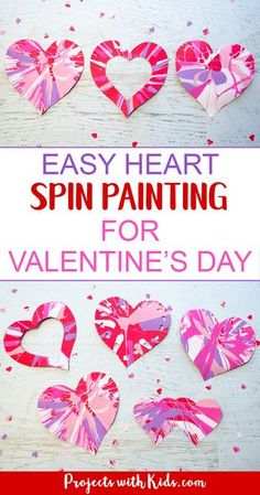 Spin painting hearts make the perfect Valentine's Day art project for kids. Kids will have a blast spinning their hearts and making cool patterns. An easy project for preschool kids to make on their own and an awesome process art project for kids of all ages! #valentinesday #preschool #artprojectsforkids