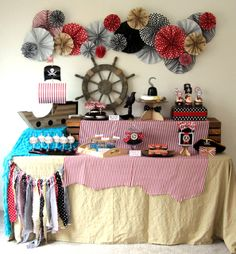 Such a cool dessert table at a Pirate Party!  See more party ideas at CatchMyParty.com!  #partyideas #pirate