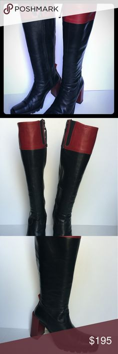 Donald J Pliner Boots SZ 6US/36 EURO Donald J Pliner Boots Black and Red Tall Knee High Zipper Boots Block Heels Great to excellent condition! Beautiful boots Size 6US/36 EURO Made in Italy Lounges with leather & has pleaded leather footbeds or insoles. Donald J. Pliner Shoes Heeled Boots