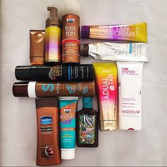 Our favourite fake tans - Bondi Sands, Sportsgirl, Pure Tan, Le Tan and Vaseline cocoa butter for maintaining your tan!