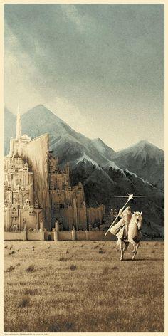 Gandalf rides out from Minas Tirith - Stunning LOTR Gandalf posters by Matt Ferguson Gandalf, Minas Tirith, Midle Earth, John Howe, O Hobbit, Hobbit Art, Into The West, Jrr Tolkien, Comic Art