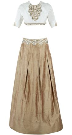 Ivory embellished blouse with gold skirt available only at Pernia's Pop-Up Shop.