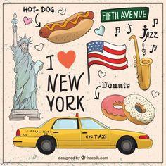 Schetsmatig collectie van New York elementen Gratis Vector