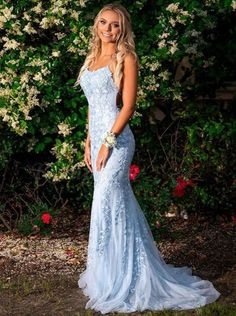 Most ladies opt to have on something long, as this makes them really feel a bit far more sophisticated and grown up. #LongPromDressesTight #LongPromDressesSimple #LongPromDressesSparkly #LongPromDresses #LongPromDressesTwoPieces Blue Lace Prom Dress, Mermaid Prom Dresses Lace, Pretty Prom Dresses, Straps Prom Dresses, Prom Dresses Blue, Event Dresses, Tight Prom Dresses, Bridesmaid Dresses, Light Blue Formal Dresses