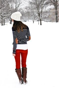 striped sweater, red jeans & boots