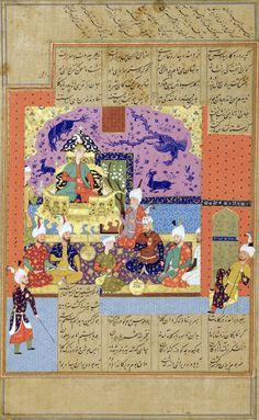 بر تخت نشستن کیخسرو، برگی از شاهنامه شاه اسماعیل دوم، منسوب به برجی، قزوین، حدود 1577 میلادی،  به گیتی خردمند و خامش تویی که پروردگار سیاوش تویی سر زال زان پس به بر در گرفت ز بهر پدر دست بر سر گرفت گوان را به تخت مهی برنشاند بریشان همی نام یزدان بخواند نگه کرد رستم سرو پای اوی نشست و سخن گفتن و رای اوی رخش گشت پرخون و دل پر ز درد زکار سیاوش بسی یاد کرد AN ILLUSTRATED AND ILLUMINATED LEAF FROM THE SHAH ISMA'IL II SHAHNAMEH: THE PARTY AFTER HOMAGE PAID TO KAY KHOSRAW BY NOBLES FOLLOWING HIS…