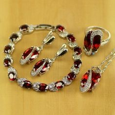925 Sterling Silver Jewelry set Red Created Ruby Earrings/Pendant/Necklace/Ring/ #Unbranded