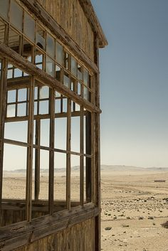 The ghost town of Kolmanskop, Namibia being devoured by the sands of the Namibia desert. http://en.wikipedia.org/wiki/Kolmanskop