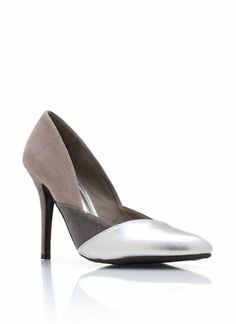 Pointy toe pumps are a classic staple, but these faux suede and faux metallic leather heels add some edge.
