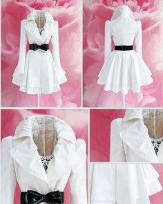 Elegant white cotton above knee length coat.