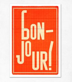 Bonjour orange Extra Large illustration print 1650 x by edubarba, €19.00
