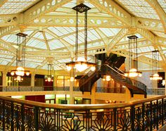 The lobby of the landmark Rookery Building, redesigned by Frank Lloyd Wright in 1905