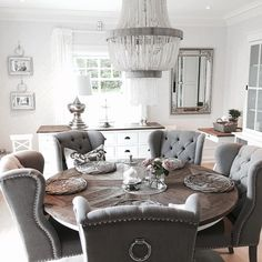 49 Cozy Modern Farmhouse Dining Room Design Ideas - Page 42 of 49 - Best Living Room Dining Room Table Decor, Dining Room Design, Dining Room Furniture, Dining Nook, Kitchen Chairs, Cozy Dining Rooms, Dinning Room Ideas, Grey Dining Room Chairs, Dining Room Decor Elegant