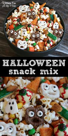 Such a fun Halloween Snack Mix! Make your own scary ghost pretzels and bugle fingers. Such a fun Halloween Snack Mix! Make your own scary ghost pretzels and bugle fingers. Halloween Desserts, Halloween Peeps, Fete Halloween, Halloween Goodies, Halloween Food For Party, Halloween Birthday, Halloween Treats, Halloween Pretzels, Halloween Popcorn