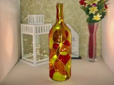 Mardi Gras Stained Glass 1.5 Liter LED Light Up Wine Bottle