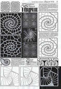 "Photo from album ""Дуплет on Yandex. Crochet Motif Patterns, Crochet Squares, Crochet Designs, Crochet Stitches, Freeform Crochet, Crochet Art, Irish Crochet, Crochet Collar, Irish Lace"