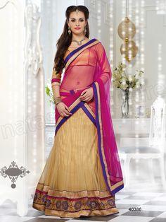 #Designer Lehenga Choli# Beige & Brocade #Indian Wear#Desi Fashion #Natasha Couture #Indian Ethnic Wear #Bridal Wear #Wedding Wear