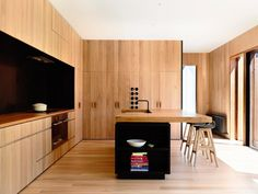 Hellooo all wood kitchen, you're looking mighty fine. The black accents give it oomph.