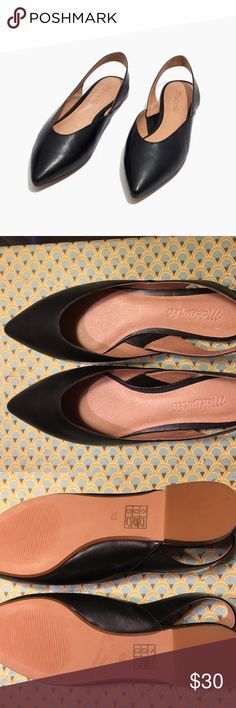 "Ava slingback flat in leather - Madewell PRODUCT DETAILS  Never Worn! New without box.  Sleek, streamlined and slingbacked, these leather pointy-toe flats are your new anytime/anyplace shoes. Cushiness alert: We've added an extra layer of padding to make them even easier on the feet. When you select your size, ""H"" equals a half size. Leather upper and lining. Man-made sole. Import. Madewell Shoes Flats & Loafers"