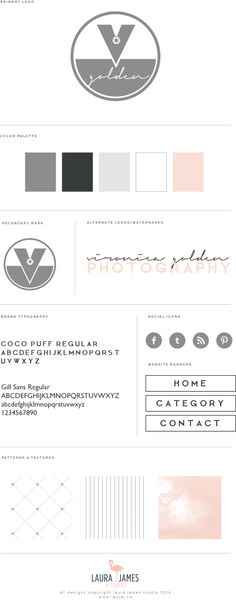 vironica golden photography brand launch soft pinks, neutral, nude, charcoal, grey, smokey, script font mixed with slab bold fonts, modern, clean, elegant, logo design:: laura james studio brand creation los angeles california - brand board identity guide