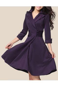 Office Lady Lapel Collar 3/4 Sleeve Plain A-Line Midi Dress