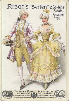 Vintage Labels, Vintage Postcards, Vintage Ads, Vintage Pictures, Vintage Images, 18th Century Costume, Rococo Fashion, Vintage Couples, 18th Century Fashion