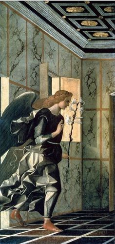 Giovanni Bellini, The Annunciation, 1500, detail, Venice, Accademia