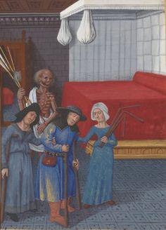 Bibliothèque nationale de France, Département des manuscrits, Français 916, detail of f. 98v. Le Livre de la misere de l'omme, by Lothier. 1474