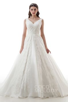Graceful A-Line V-Neck Natural Court Train Organza and Lace Ivory Sleeveless Open Back Wedding Dress with Appliques and Bowknot LD4453#Cocomelody#weddingdress#bridalgown#