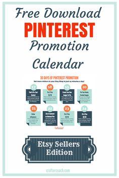 Don't get stuck - 30 Day Pinterest Promotion Calendar for Etsy Sellers - it's Free! http://craftercoach.com/pinterestcalendar