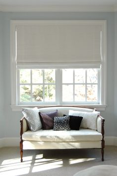 I like this style of blinds for the smaller window with a different colour