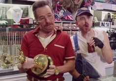 Bryan Cranston and Aaron Paul reunite to do a goofy parody of Pawn Stars, and even bring in Julia Louis-Dreyfus for the fun.