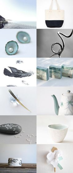 Beach Hibernation by NangijalaJewelry on Etsy--Pinned with TreasuryPin.com | gray and mint | beach