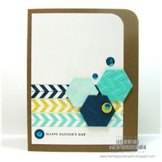 handmade card ... modern art look ... graphic use of hexagon washi tape and punched hexagons ... luv the colors of white, aqua and yellow with black ... rule of threes: tape lines, hexagons and enamel dots ... luv this look!!! ... Stampin' Up!
