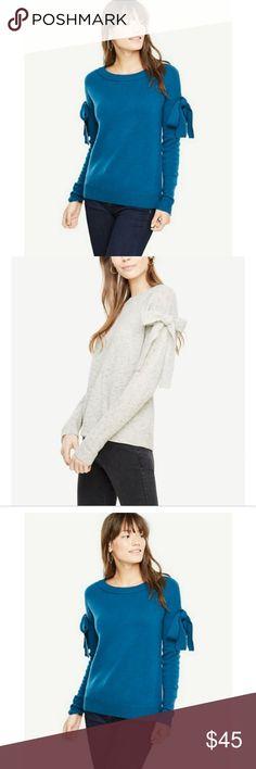 51366de186553 Ann Taylor Women s Bow Sleeve Blue Wool Sweater Ann Taylor Bow Sleeve  Sweater Brand new with