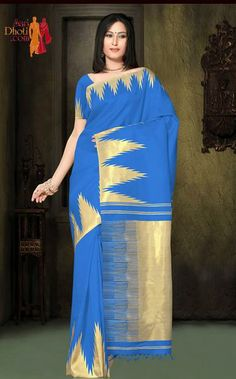 Turquoise Blue color saree with Zari temples. Turquoise Blue color Pallu and blouse piece #kanchipuramsarees http://www.saridhoti.com