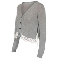 MIU MIU $440 cropped lace trim gray cardigan loose knit jumper sweater 38-IT / 2 #MIUMIU #Cardigan #LaceTrim #Sweater
