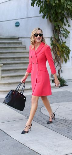 ae7199ccf600 Sarah Jessica Parker · red double-breated coat dress