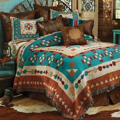 Explore Lone Star Western Decor right now and take discounts up to on Western bedding, including this Queen Size Southwest at Heart Tapestry Coverlet! Southwest Bedroom, Southwest Decor, Southwestern Decorating, Southwest Style, Southwestern Bedding, Western Bedroom Decor, Western Rooms, Home Decor Bedroom, Lodge Bedroom