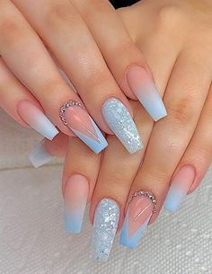Are you ready to change your manicure style to make your finger more stylish and . - Are you ready to change your manicure style to make your finger more stylish and . Cute Acrylic Nail Designs, Pretty Nail Designs, Light Blue Nail Designs, Blue Nails With Design, Designs For Nails, Awesome Nail Designs, Acrylic Nails With Design, Acrylic Nail Designs For Summer, Cool Nail Ideas