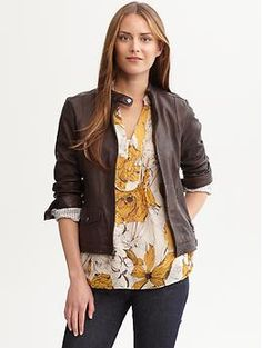 This Heritage leather moto jacket from Banana Republic makes any blouse look contemporary and trendy. Save 25% off your entire order until 7/31 w/ code.