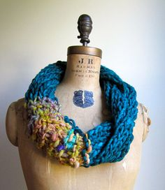 Bohemian knit loop infinity scarf. Teal. Yellow. by Happiknits, $76.00
