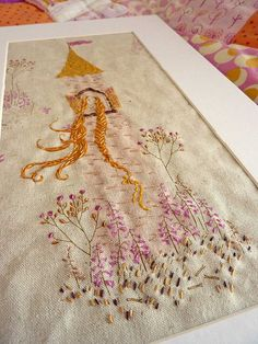 Hand Embroidered Heather Ross Rapunzel fabric from Far Far Away line, made by Picciolo on Flickr