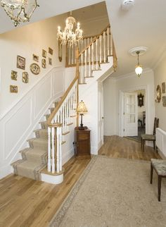 White Oak and Red Deal Cut-String stairs c/w scroll