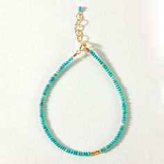 turquoise with gold bead bracelet