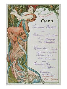 Alphons Mucha. Moët and Chandon Menu, 1899