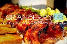 Cranberry Lacquered Cornish Hens.  I skipped the apricot preserves, cuz I had none.